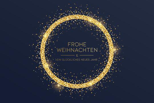 goldene Weihnachtskarte mit Kreis
