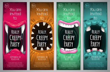 Halloween vertical banners with creepy monster mouth.