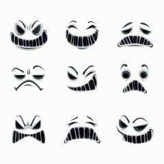Scary ghost faces on the white background. Vector set.
