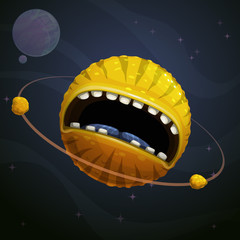 Cartoon fantasy yellow monster planet with giant scary mouth on cosmic background.
