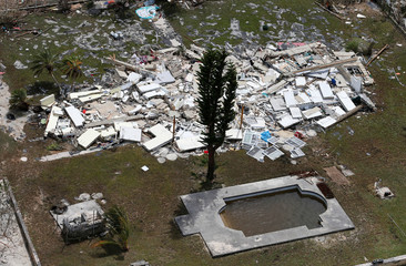 An aerial view shows devastation after hurricane Dorian hit the Grand Bahama Island in the Bahamas