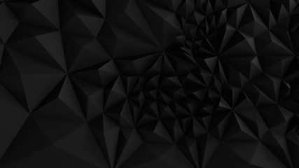 Fototapete - Low poly Black abstract backround