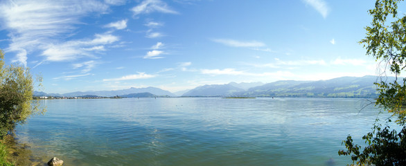 Panoramic picture of the Upper Lake Zürich near Rapperswil
