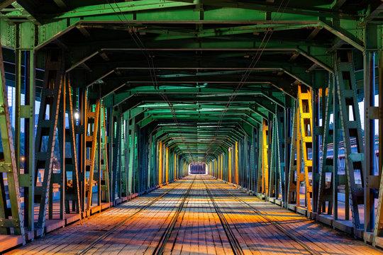 Gdanski Bridge with tramway track at night, Warsaw, Poland