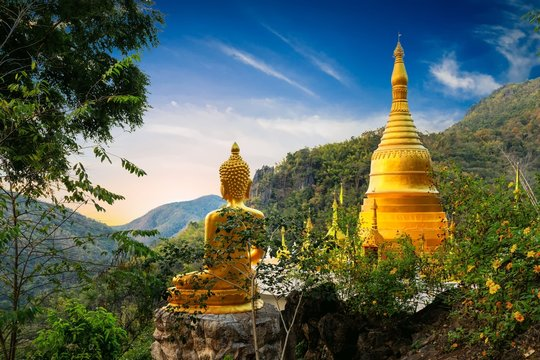 Golden Buddha statue view point