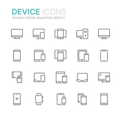 Collection of device related line icons. 48x48 Pixel Perfect. Editable stroke