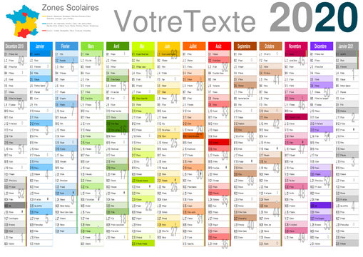 Calendrier 2020 14 mois avec vacances scolaires officielles 2020 / 2021 entièrement modifiable via calques et texte arial
