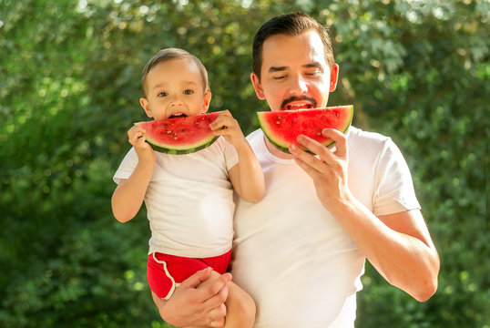 Portrait of dad and son eating and simultaneously biting slices of watermelon. Father is holding boy in arms. Father and toddler child having good time together at picnic outdoors