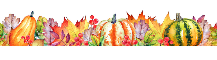 Seamless border with watercolor pumpkins, autumn leaves and berries