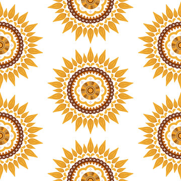 Sunflower floral seamless pattern. folk illustration with nature motif ornament