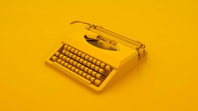 Vintage Typewriter Isolated. Minimal idea concept. 3d illustration