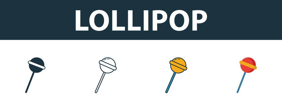 Lollipop icon set. Four elements in diferent styles from baby things icons collection. Creative lollipop icons filled, outline, colored and flat symbols