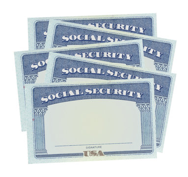Social security cards isolated on white background