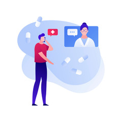 Vector flat doctor patient online conversation illustration. Male talking with girl medic on screen by phone with pill background. Concept of tele medicine. Design element for poster, web