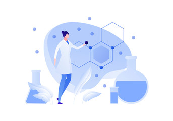 Vector flat chemistry science people illustration. Female scientist holding atom with formula and tube on background. Concept of biochemistry, research, analysis Design element for banner, poster, web