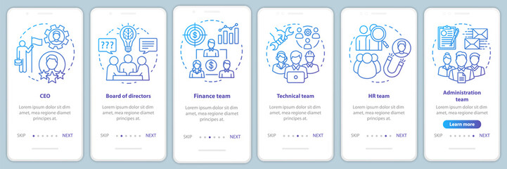 Company staff onboarding mobile app page screen with linear concepts. CEO, board of directors walkthrough steps graphic blue instructions. Corporate team. UX, UI, GUI vector template with illustration