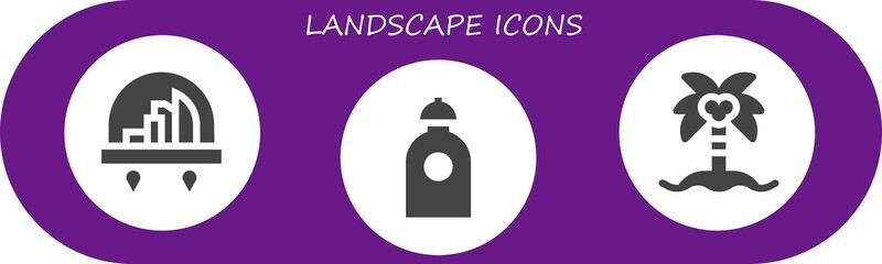 Deurstickers Violet landscape icon set