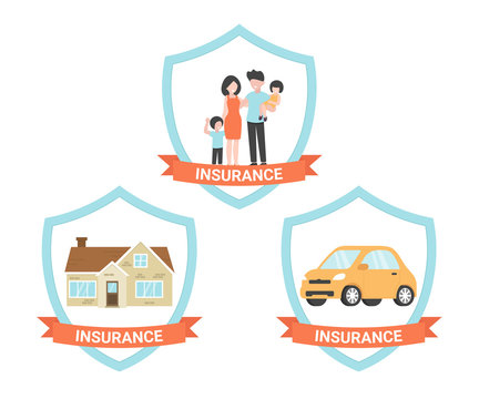 Set Insurance life, house, car. Modern flat vector illustrations design isolated on white background.