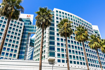 September 3, 2019 San Jose / CA / USA - Adobe Inc. corporate headquarters in downtown San Jose, south San Francisco bay area, Silicon Valley