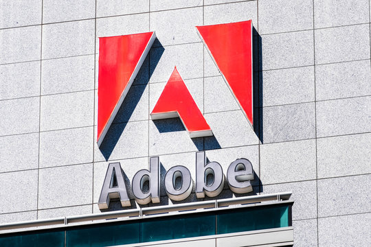 September 3, 2019 San Jose / CA / USA - Close up of Adobe sign at their corporate headquarters in downtown San Jose, south San Francisco bay area, Silicon Valley