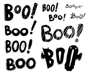 Boo hand drawn black ink brush letterings set