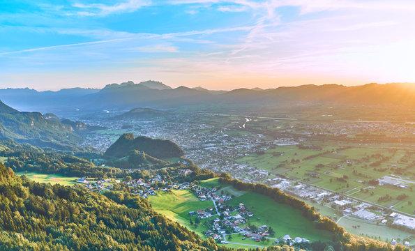 "Looking down from mountain ""Breitenberg"" (Austria) into four different countries: Austria, Switzerland, Liechtenstein and Germany. Next to Bregenz at Lake Constance."