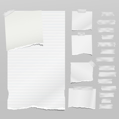 Set of torn white note, notebook paper pieces with sticky tape stuck on grey background. Vector illustration