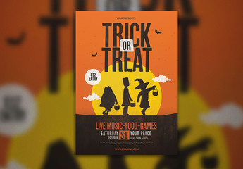 Graphic Trick or Treat Halloween Flyer Layout