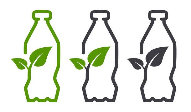 Eco bio leaf bottle vector icon