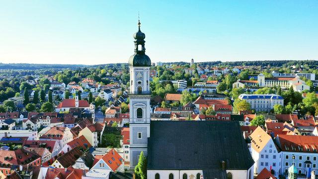 aerial of the St. Georg church in the city center of Freising, Marienplatz, Bavaria, Germany