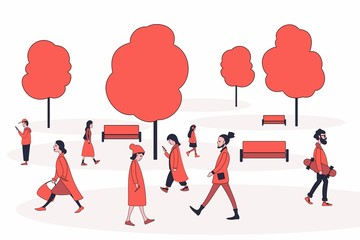 People in outerwear walking in the park. Men and women of different ages among park benches and trees. Flat characters.