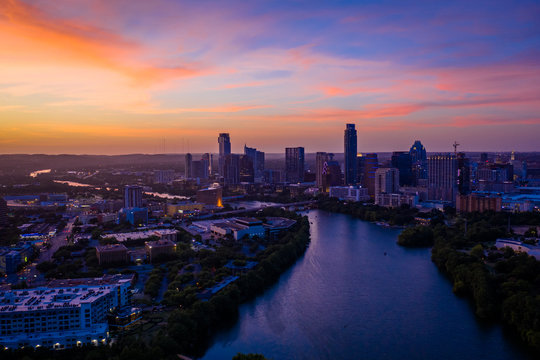 Austin Texas at Sunset with skyscrapers | Austin Texas Skyline with violet crown Aerial photo