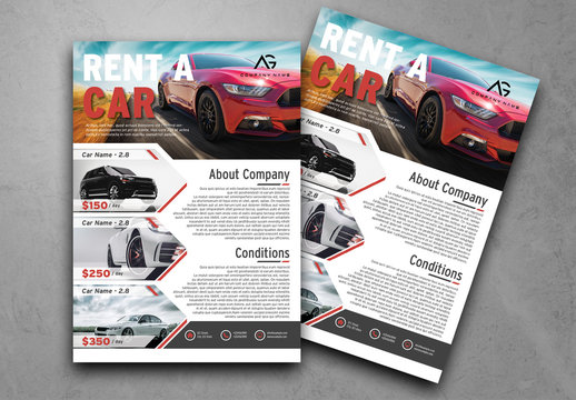 Flyer Layout with Geometric Photo Placeholders and Red Accents