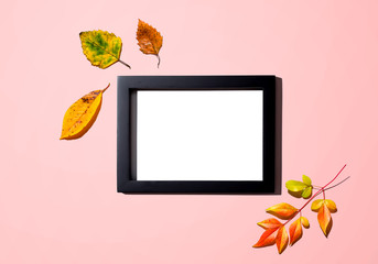 Wall Mural - Autumn leaves with blank photo frame - overhead view flat lay