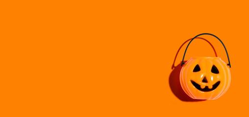 Halloween orange pumpkin - overhead view flat lay