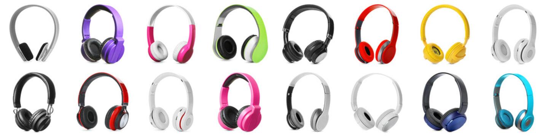 Set of different modern headphones on white background. Banner design