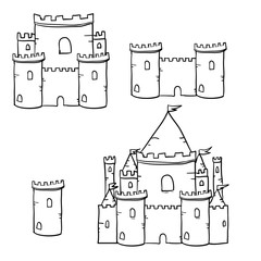 Medieval castle towers with handdrawn doodle vector