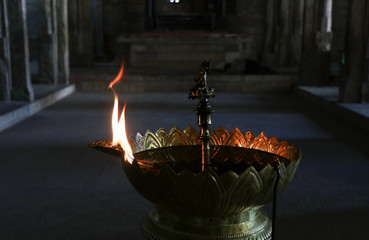 Fototapete - Traditional Oil Lamp in Temple