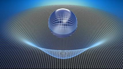 Glass sphere over a curved grid - 3D rendering illustration