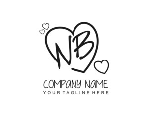 Initial NB letter handwriting logo with heart template vector