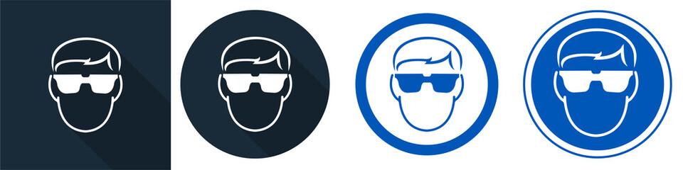 Symbol Wear Safety Glassed Symbol Sign Isolate on White Background,Vector Illustration