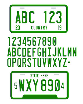 car license plate number 3d font vector