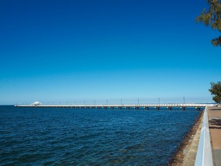 Beautiful view of Shorncliffe Pier from Moora Park, Shorncliffe in Brisbane, Australia.
