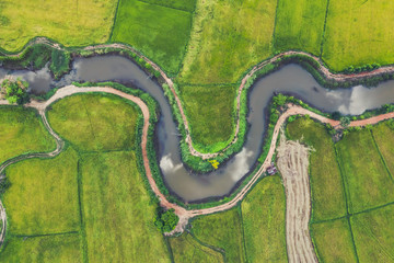 aerial view of devious river in a fields