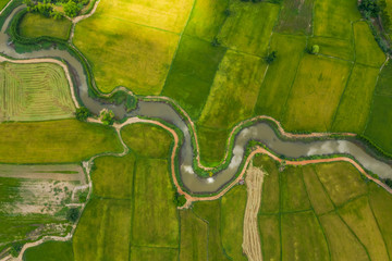 aerial view of devious river in a fields Fototapete