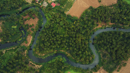 Foto op Canvas Bomen aerial view from drone of devious river and agriculture area