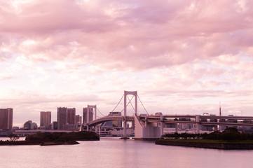 Odaiba Rainbow bridge with Tokyo bay view at evening sunset sky