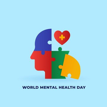 World mental health day concept poster background design. Human head jigsaw piece puzzle with love heart medical treatment symbol vector illustration