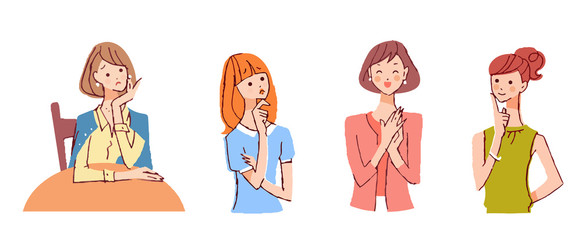 女性4人 表情 セット
