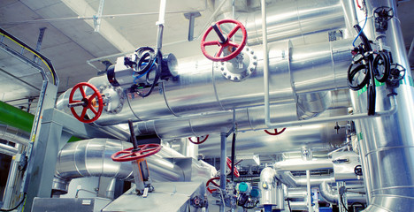 Industrial zone, Steel pipelines, valves and cables